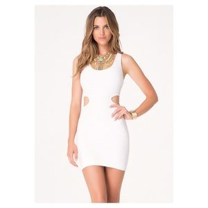 Bebe Side Cut Out Bandage Dress White NWOT